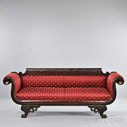 Classical Carved Mahogany Sofa